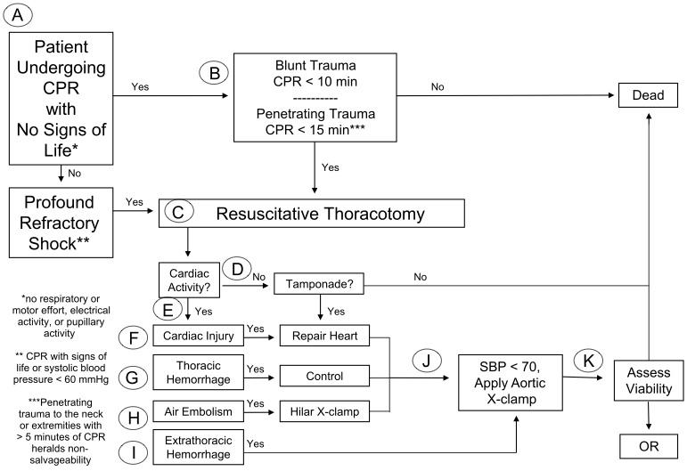 Burlew CC, Moore EE, Moore FA, et al. Western Trauma Association critical decisions in trauma: resuscitative thoracotomy. J Trauma Acute Care Surg. 2012;73(6):1359-1363.